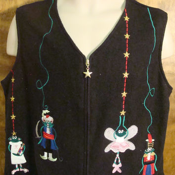 The Nutcracker Frogs Ugly Christmas Sweater Vest