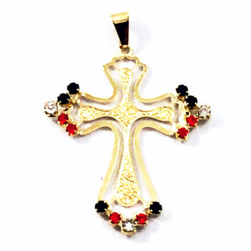 Armenian Cross Crystal 18Kts Gold Plated Charm