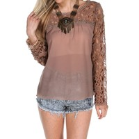 Taupe Lace Sleeve Blouse