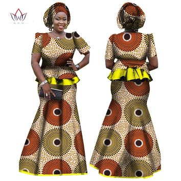 2018 African Women Clothing Brand African Vestido 6XL Wax traditional african clothing 2 pieces for Women Skirt Set BRW WY864