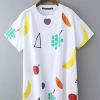 Fruits Print Short Sleeve Graphic Loose Dress