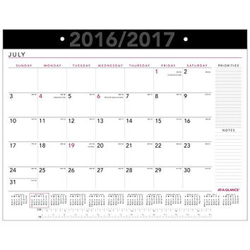 "AT-A-GLANCE Academic Year Desk Pad Calendar, Monthly, July 2016 - June 2017, July Start, 21-3/4""x17"", School, Contempo (AY24X-00)"