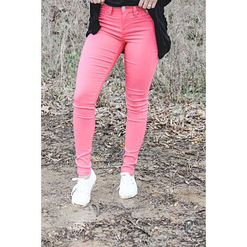 YMI Hyperstretch Mid-Rise Skinny Jeans - Coral
