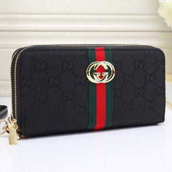 Gucci Fashion Trending Print Female Zipper Leather Wrist Hand Bag Black G-MYJSY-BB