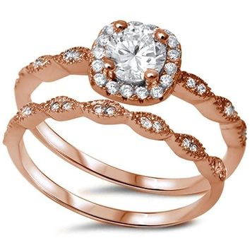 Sterling Silver .925 Rose Gold CZ Halo Vintage Bridal Engagement Ring Set 4-10