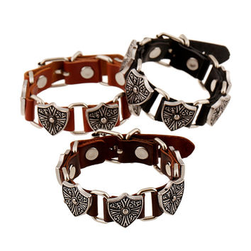 New Arrival Stylish Gift Great Deal Hot Sale Awesome Shiny Punk Rivet Leather Bangle Vintage Alloy Men Ring Bracelet [6526708867]