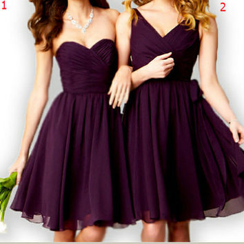 knee-length chiffon bridesmaid dresses beach bridesmaid dresses short prom dresses V-neck formal evening dress custom size
