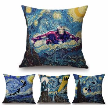Van Gogh Starry Night Oil Painting Batman Ironman Witch Home Decor Pillow Cover Tardis Peter Pan Creative Linen Cushion Cover