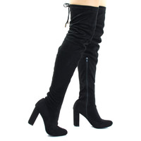 Kenzy6 Block High Heel Over The Knee / Thigh High Boots, Back Top Tie