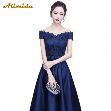 ALIMIDA Royal Blue Evening Dress 2017 New Fashion Prom Dresses Embroidery Lace A-Line Party Dress Tea Length robe de soiree
