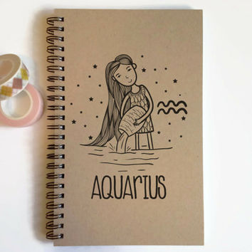 Writing journal, spiral notebook, cute diary, small sketchbook, scrapbook, memory book, 5x8 journal - Aquarius, zodiac sign, astrology