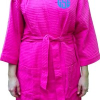 Monogrammed Hot Pink Waffle Weave Bath Robe