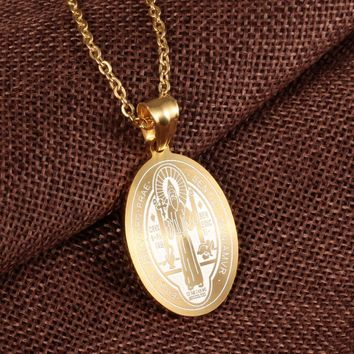 Saint Benedict Pendant Gold Color Stainless Steel Religious Catholic Pendant