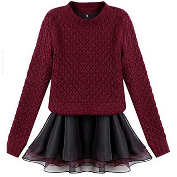 Red Long Sleeve Knitted Sweater with Organza Tent Dress