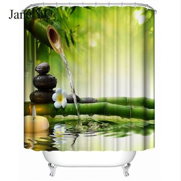 JaneYU Zen water bamboo 3D digital printing bath curtain waterproof mold resistant personality polyester hanging curtain pin