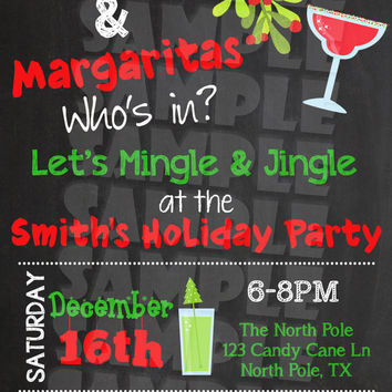 CHRISTMAS PARTY INVITATION - Mistletoe & Margaritas Invite - Holiday Party - Mingle and Jingle - Christmas Cocktail Party - Chalkboard