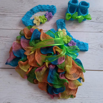 Rainbow candyland Baby Girl Dress Headband shoes Newborn take home outfit , ruffle baby dress, Crochet baby dress, handmade baby
