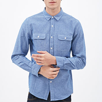 Chambray Button-Down Shirt Denim Washed