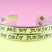 You are my sunshine/ My only sunshine - Hand Stamped Bracelets Set, Forever Love, Mother Daughter Bracelets, Friendship, Script Font