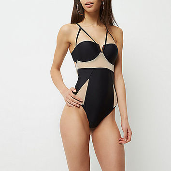Black mesh insert strappy swimsuit - swimsuits - swimwear / beachwear - women