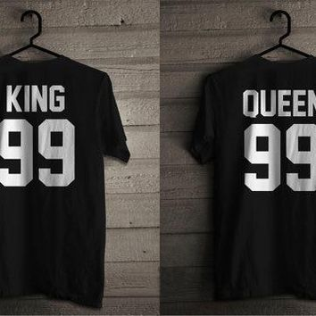 King and Queen 99 T Shirts for Couples Cotton King Queen Tees  Matching Set T-shirts Unisex Tees Women Men clothes Tops tshirts