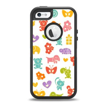 The Furry Fun-Colored Critters Pattern Apple iPhone 5-5s Otterbox Defender Case Skin Set
