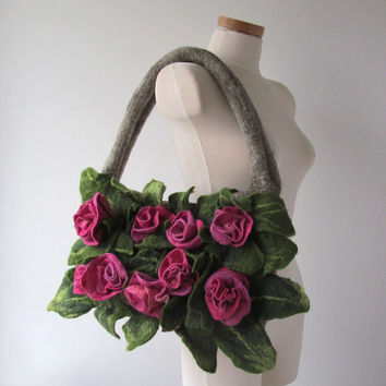 Felted handbag  Rose unique, felt tote bag, wool bag , Green Pink floral bag