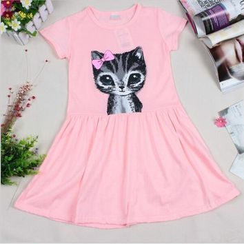 UNIKIDS Hot Sale New 2016 summer girl dress cat print grey baby girl dress children clothing children dress 0-7years