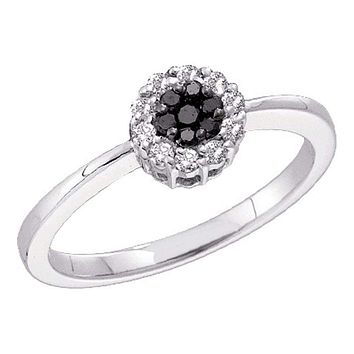 14kt White Gold Women's Round Black Color Enhanced Diamond Slender Flower Cluster Ring 1/4 Cttw - FREE Shipping (USA/CAN)