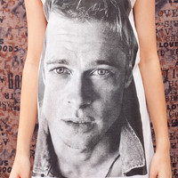Brad Pitt  T Shirt American Actor Retro Vintage Women White T-Shirt Vest Tank Top Singlet Sleeveless Size S M