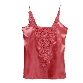 New Women's Ladies Sleeveless Sexy Lace Tank Top Satin Vest