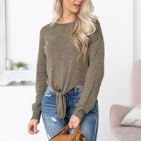 Long Sleeve Front Knot Top | Dark Olive