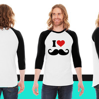 I Love Mustache American Apparel Unisex 3/4 Sleeve T-Shirt