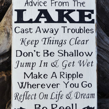 Advice From A Lake Sign, Lake House Decor Wall Art, Inspirational Unique Wooden Signs, Lakeside Life Quote Poem