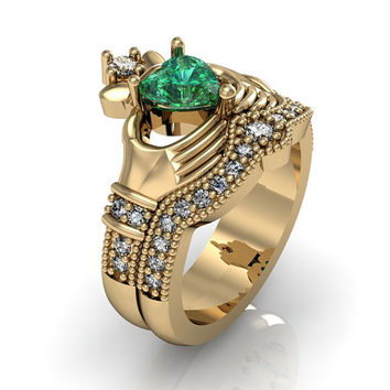 Claddagh Ring - 10K Solid Yellow Gold Emerald CZ  Love and  Friendship Engagement Ring Set