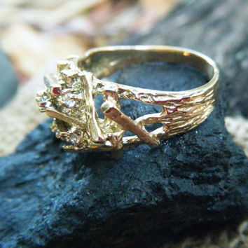 Dramatic statement ring made of random gold bars and diamonds, Eco-friendly, recycled gold, large ring, plus size, size 9