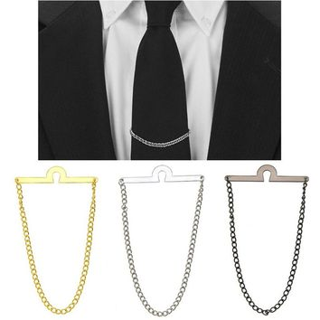 Hot Men Tie Chain Tack Clip Locking Pin For Necktie Guard Clutch Back Secure Holder New Jewelry