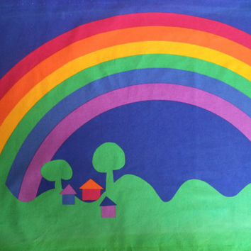 Sateensaari Made in Finland by Tampella fabric panel/ vintage rainbow fabric panel/ rainbow houses trees 70's fabric decor