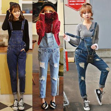 VONG2W 2017 new women Wash Denim Overall Jeans Women Cute Wear Vintage Sleeveless with Pockets Hole BF jeans Jumpsuits high quality