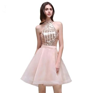 Halter Organza A Line Sequined Short Homecoming Dress