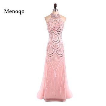 Pink Long Prom Dresses 2017 Mermaid Halter Neck Floor length Hand made Beading Elegant Ballkleider Formal Dresses Real Sample