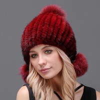 GORGEOUS Real Mink Fur Hats for Women, Knitted Mink Fur Beanies with Two Fur Pom Poms. Amazing Winter Headgear