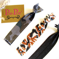 Hair Ties, Bracelets, FOE, Camouflage, Brown, Orange