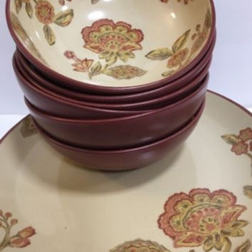 222 Fifth Jacobean Red Floral Pattern Cream Dinnerware 12 Pc Set Red Trim & Back