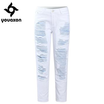 2094 Youaxon White Straight Patchwork Cropped Jeans Women`s Boyfriend Mid Waist Ripped Denim Pants Jeans For Women Jean Capris