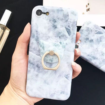 Retro Marble + Ring Case for iPhone 7 7Plus & iPhone se 5s 6 6 Plus Best Protection Cover +Gift Box-145