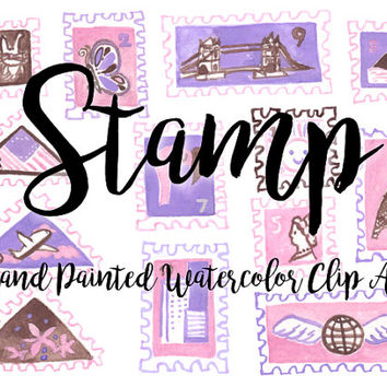 Stamp Watercolor Clipart Digital File baby shower Download decoration digital kids birthday invitation snail mail printable bedroom print