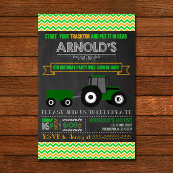 Green Tracktor Chalkboard Invitation