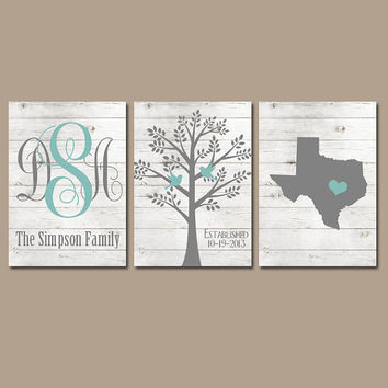 Family Tree Wall Art, White Wash Wood, Personalized Monogram CANVAS or Prints, Pictures Wedding Gift, Name Date Tree Birds State Set of 3