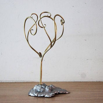 Tree brass sculpture, metal sculpture of tree with curly branches, brass aluminum small sculpture, tree metal sculpture,  tree art object